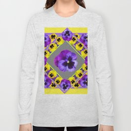 GEOMETRIC  PURPLE & YELLOW  PANSIES ON BUTTER YELLOW Long Sleeve T-shirt