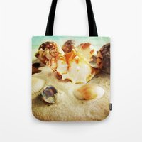 shell Tote Bags featuring Shell by brushnpaper