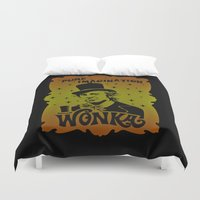 willy wonka Duvet Covers featuring Gold Ticket by Buby87