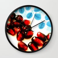 pomegranate Wall Clocks featuring Pomegranate by Yilan