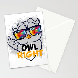 Owl Lover? A Perfect Owls Tee Love Owls Owl Right T-shirt Design Nocturnal Night Birdline Stationery Cards