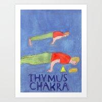 Thymus Chakra Peacock Pose Art Print