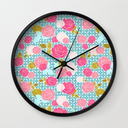 Blue & Pink Roses Allover with Geometric Pattern and Gold Wall Clock