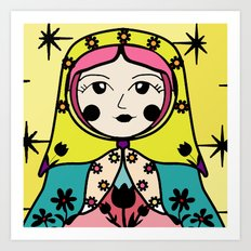Matryoshka russian doll colorful illustration wall decor - Tatiana Art Print