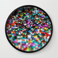 confetti Wall Clocks featuring Confetti by Laura Ruth