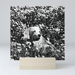 beagle dog flower field vector art black white Mini Art Print