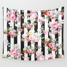Bold pink watercolor roses floral black white stripes Wall Tapestry