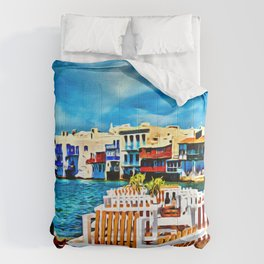 Cyclades Islands Digital Painting Comforters