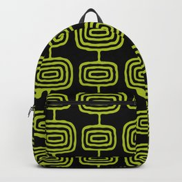 Mid Century Modern Atomic Rings Pattern Black and Chartreuse Backpack