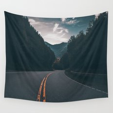 Road #Trees Wall Tapestry