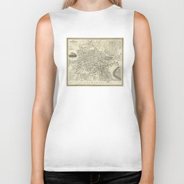 Vintage Map of Edinburgh Scotland (1844) Biker Tank