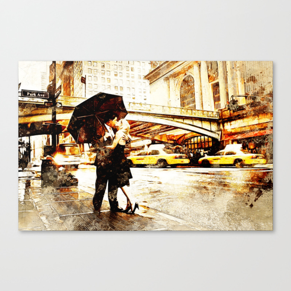 Love In The Rain (loving The Rain) Canvas Print by D77thedigartist CNV8597572