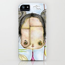 Steampunk Girl among air balloons iPhone Case