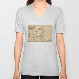 Vintage Battle of Concord Map (1875) Unisex V-Neck
