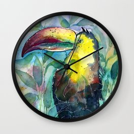 TOUCAN, watercolor illustration (nature) Wall Clock
