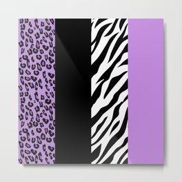 Animal Print, Zebra Stripes, Leopard Spots - Purple Metal Print