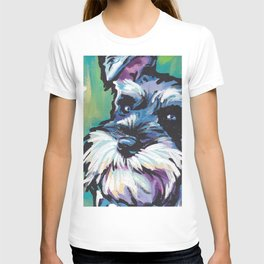 Fun Schnauzer Dog Portrait bright colorful Pop Art Painting by LEA T-shirt