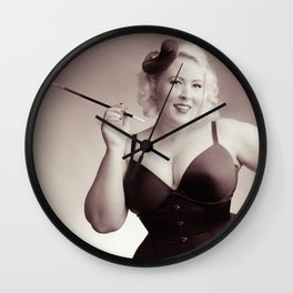 """""""Of Corset Darling"""" - The Playful Pinup - Vintage Corset Pinup Photo by Maxwell H. Johnson Wall Clock"""