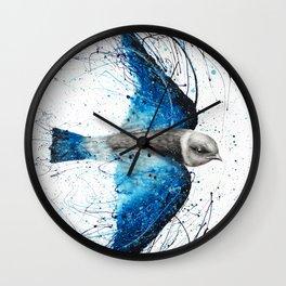 Blue Bird Listener Wall Clock