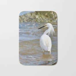 White Egret at the Beach Bath Mat