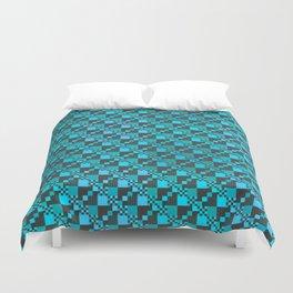 Micro Diagonal Blue Checkerboard Duvet Cover