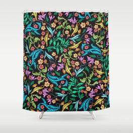Asian Theme Lucky Genie Lantern Floral Print Shower Curtain