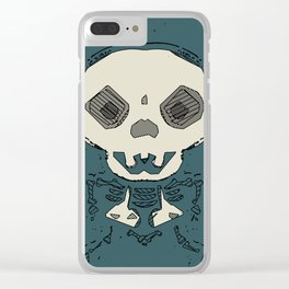 skull and bone graffiti drawing with green background Clear iPhone Case
