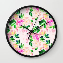 Watercolor spring floral pattern Wall Clock