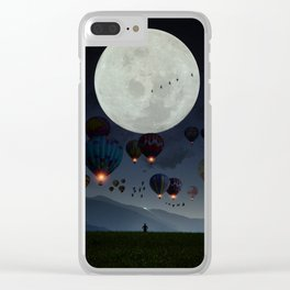 Human facing the moon and balloons by GEN Z Clear iPhone Case