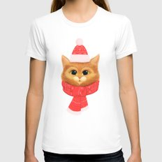 Winter kitty White LARGE Womens Fitted Tee