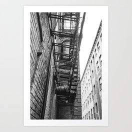 Manchester Fire escape on an old mill building. Art Print