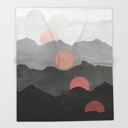Mountains and the Moon - Black - Silver - Copper - Gold - Rose Gold Throw Blanket