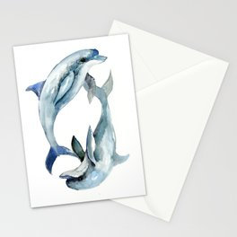 Dolphin, Two Dolphins, chidlren room decor illustration dolphin art Stationery Cards