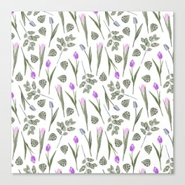 Elegant lilac blush pink blue watercolor tulips pattern Canvas Print