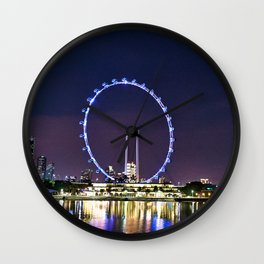 Singapore Flyer and Night Scenery. Wall Clock