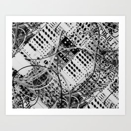 analog synthesizer  - diagonal black and white illustration Art Print