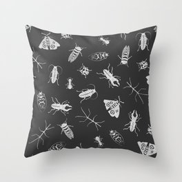 Insects Pattern on Black Throw Pillow