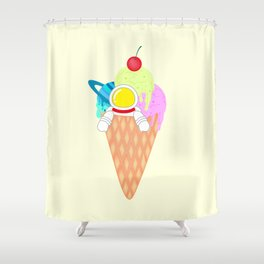 Space Odyssey Ice Cream | Astronaut Ice Cream | Space Ice Cream | Galaxy Ice Cream | pulps of wood Shower Curtain