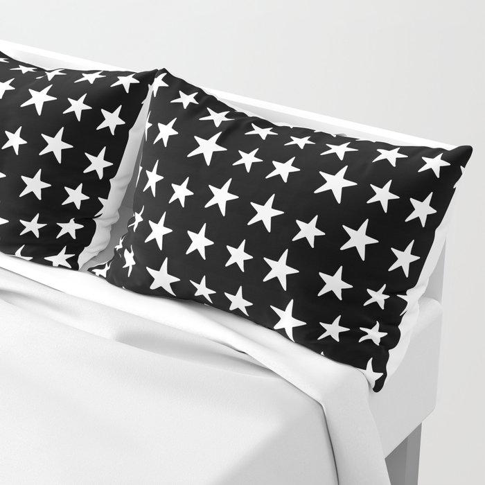 Star Pattern White On Black Kissenbezug
