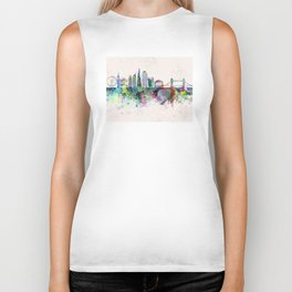 London V2 skyline in watercolor background Biker Tank