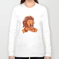 gryffindor Long Sleeve T-shirts featuring Lions Gryffindor by Fresco Umbiatore