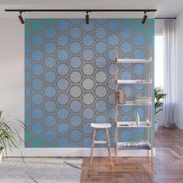 Hexagonal Dreams - Periwinkle/Turquoise gradient Wall Mural