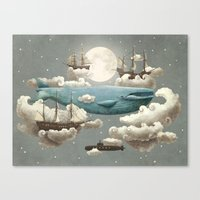 wall clock Canvas Prints featuring Ocean Meets Sky by Terry Fan