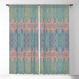 Angel Wings Pattern - Neon Black Currant, Hippie Blue & Lime Pattern on Pink by artestreestudio Blackout Curtain