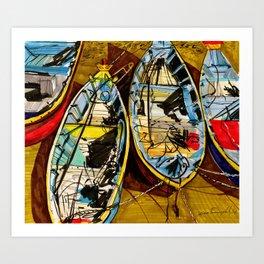 Vietnamise boats Mui Ne Art Print