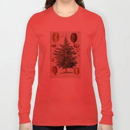 Vintage Cedar Tree illustration Long Sleeve T-shirt