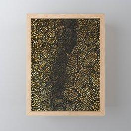 Black Gold Snake Skin Framed Mini Art Print