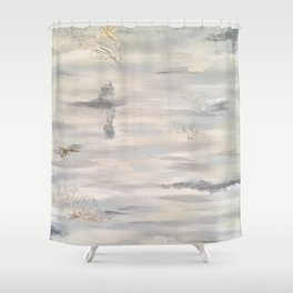 Neutral Driftwood Light Gray Abstract Beachy Painting Shower Curtain