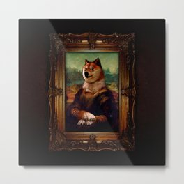Doge Mona Lisa Fine Art Shibe Meme Painting Metal Print