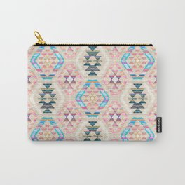 Woven Textured Pastel Kilim Pattern Carry-All Pouch